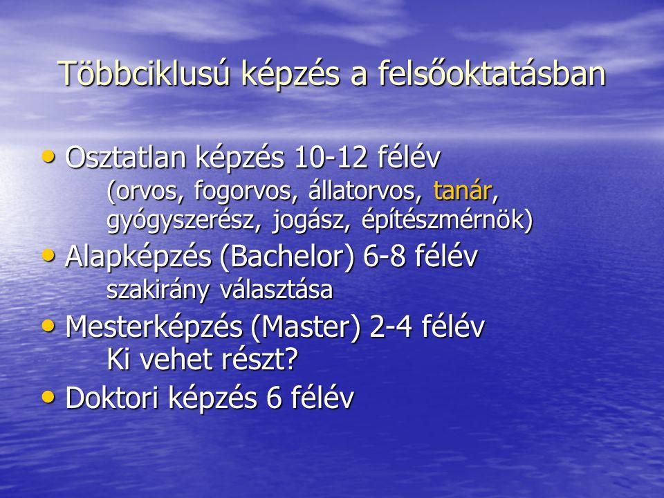 Többciklusú képzés a felsőoktatásban Osztatlan képzés 10-12 félév (orvos, fogorvos, állatorvos, tanár, gyógyszerész, jogász, építészmérnök) Osztatlan