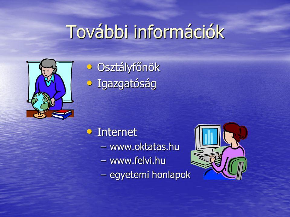 További információk Osztályfőnök Osztályfőnök Igazgatóság Igazgatóság Internet Internet –www.oktatas.hu –www.felvi.hu –egyetemi honlapok