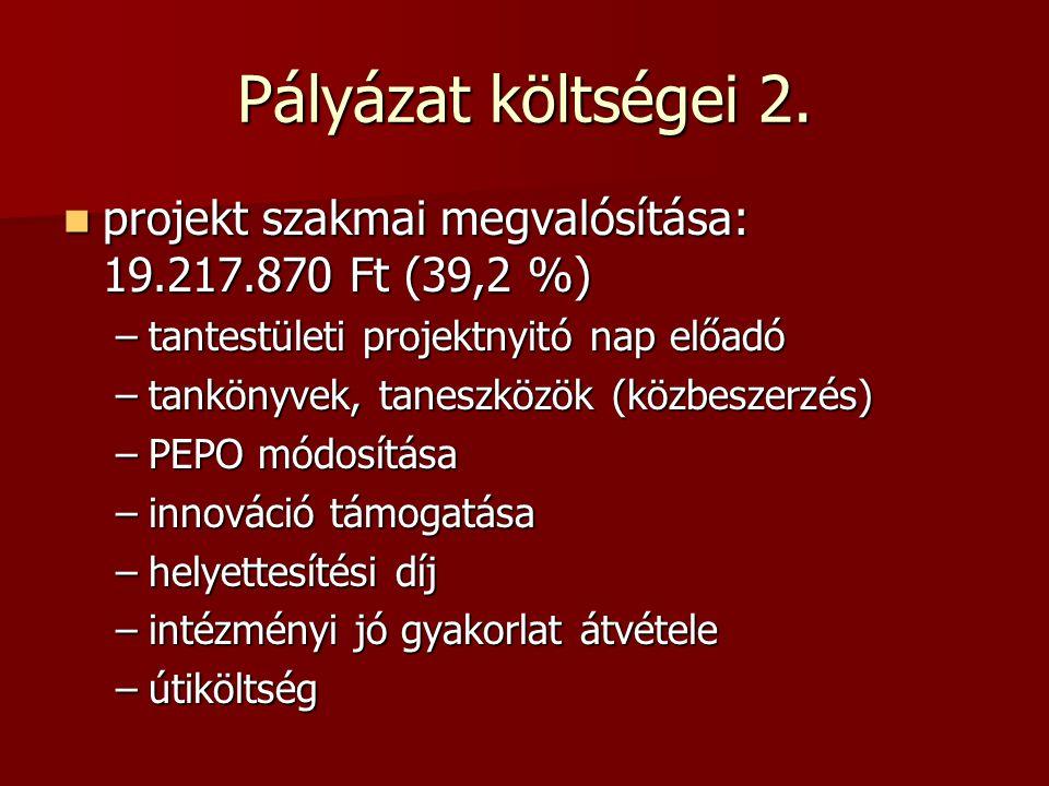 Pályázat költségei 2. projekt szakmai megvalósítása: 19.217.870 Ft (39,2 %) projekt szakmai megvalósítása: 19.217.870 Ft (39,2 %) –tantestületi projek