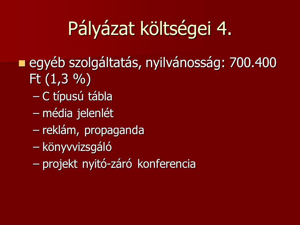 Pályázat költségei 4. egyéb szolgáltatás, nyilvánosság: 700.400 Ft (1,3 %) egyéb szolgáltatás, nyilvánosság: 700.400 Ft (1,3 %) –C típusú tábla –média