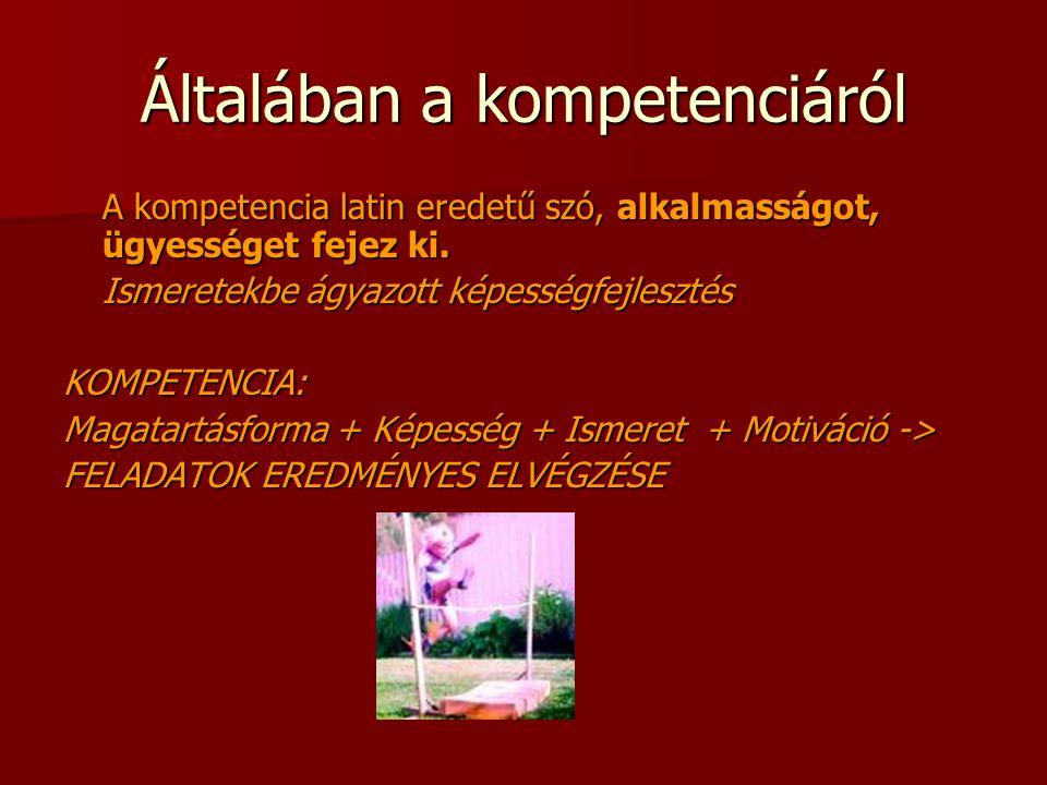 Általában a kompetenciáról A kompetencia latin eredetű szó, alkalmasságot, ügyességet fejez ki.