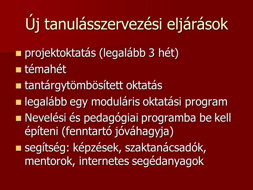 Új tanulásszervezési eljárások projektoktatás (legalább 3 hét) projektoktatás (legalább 3 hét) témahét témahét tantárgytömbösített oktatás tantárgytöm