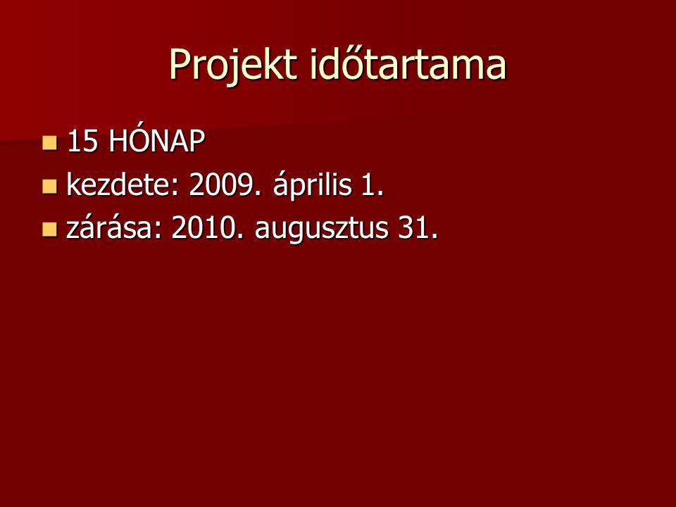 Projekt időtartama 15 HÓNAP 15 HÓNAP kezdete: 2009. április 1. kezdete: 2009. április 1. zárása: 2010. augusztus 31. zárása: 2010. augusztus 31.