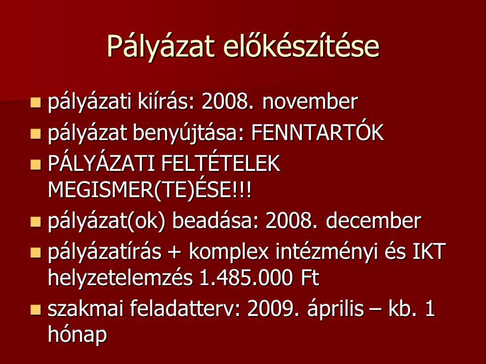 Pályázat előkészítése pályázati kiírás: 2008. november pályázati kiírás: 2008. november pályázat benyújtása: FENNTARTÓK pályázat benyújtása: FENNTARTÓ
