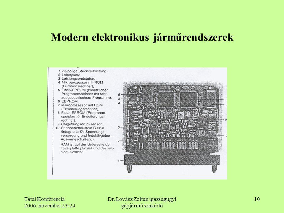Tatai Konferencia 2006. november 23-24 Dr. Lovász Zoltán igazságügyi gépjármű szakértő 10 Modern elektronikus járműrendszerek