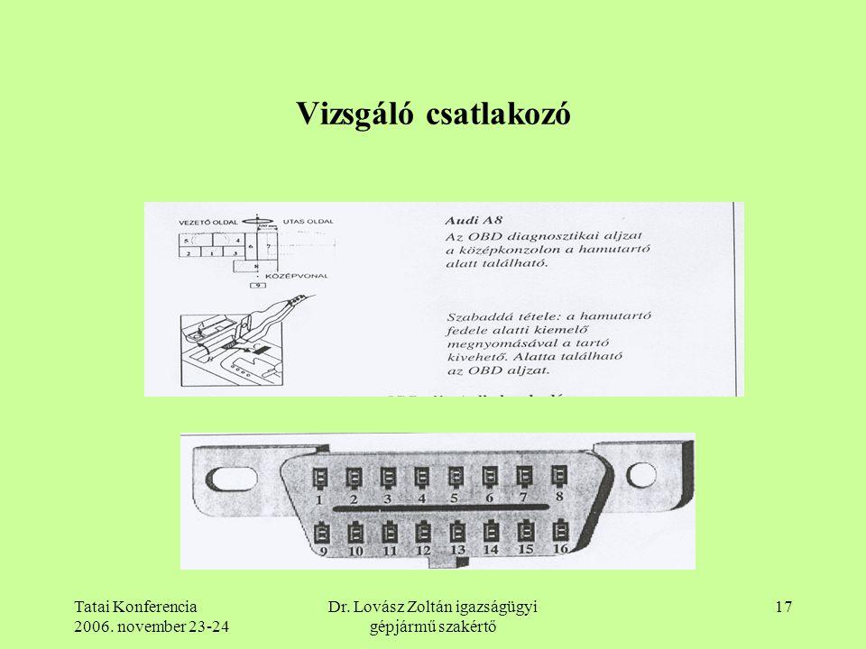 Tatai Konferencia 2006. november 23-24 Dr. Lovász Zoltán igazságügyi gépjármű szakértő 17 Vizsgáló csatlakozó