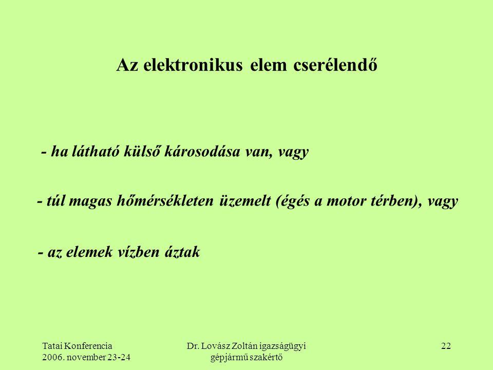Tatai Konferencia 2006. november 23-24 Dr. Lovász Zoltán igazságügyi gépjármű szakértő 22 Az elektronikus elem cserélendő - ha látható külső károsodás