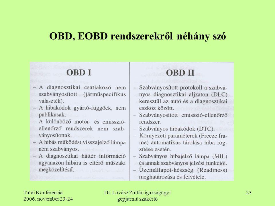 Tatai Konferencia 2006. november 23-24 Dr. Lovász Zoltán igazságügyi gépjármű szakértő 23 OBD, EOBD rendszerekről néhány szó