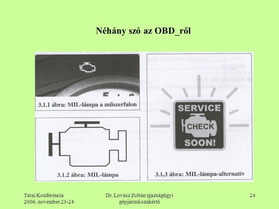 Tatai Konferencia 2006. november 23-24 Dr. Lovász Zoltán igazságügyi gépjármű szakértő 24 Néhány szó az OBD_ről