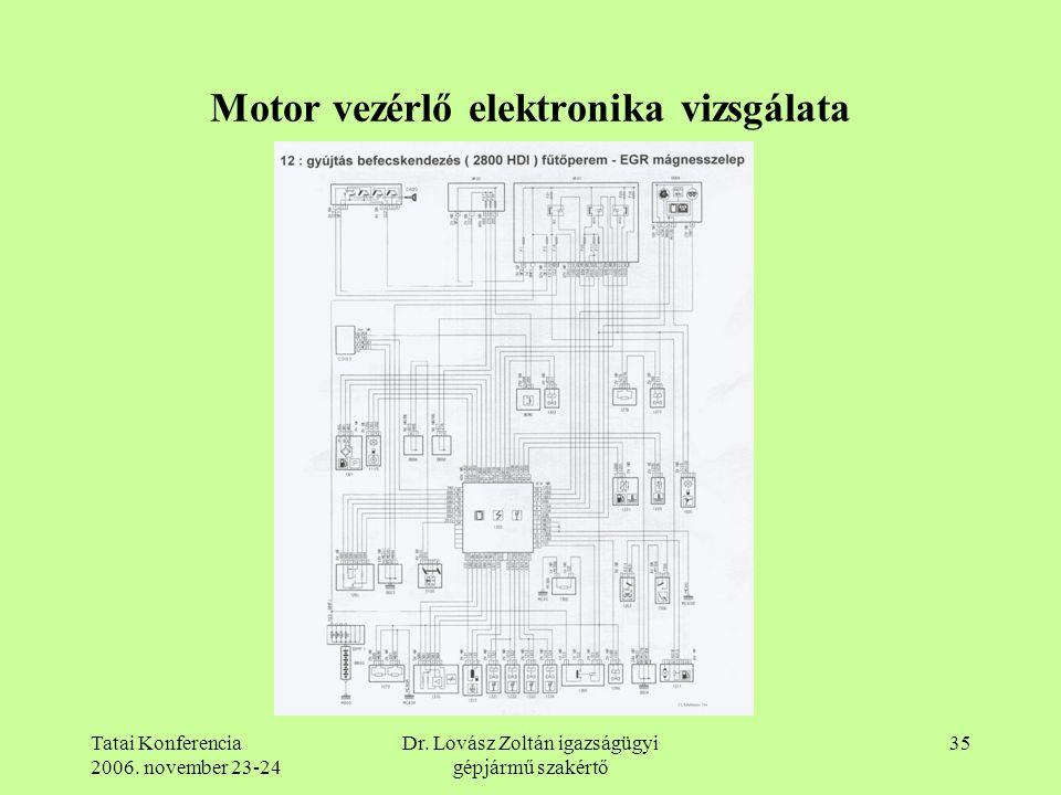 Tatai Konferencia 2006. november 23-24 Dr. Lovász Zoltán igazságügyi gépjármű szakértő 35 Motor vezérlő elektronika vizsgálata