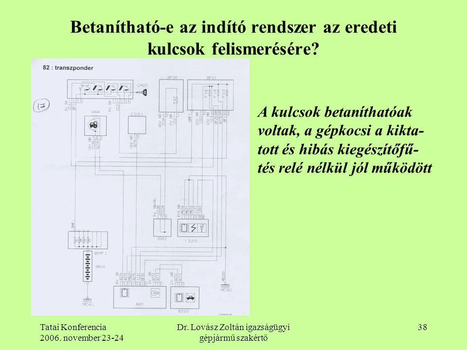 Tatai Konferencia 2006. november 23-24 Dr. Lovász Zoltán igazságügyi gépjármű szakértő 38 Betanítható-e az indító rendszer az eredeti kulcsok felismer