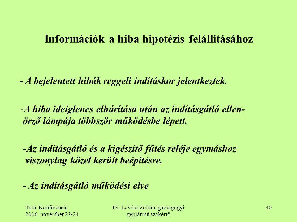 Tatai Konferencia 2006. november 23-24 Dr. Lovász Zoltán igazságügyi gépjármű szakértő 40 Információk a hiba hipotézis felállításához - A bejelentett