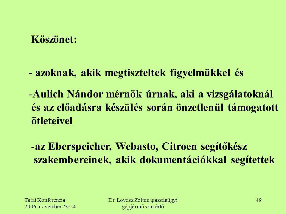 Tatai Konferencia 2006. november 23-24 Dr. Lovász Zoltán igazságügyi gépjármű szakértő 49 Köszönet: - azoknak, akik megtiszteltek figyelmükkel és -Aul