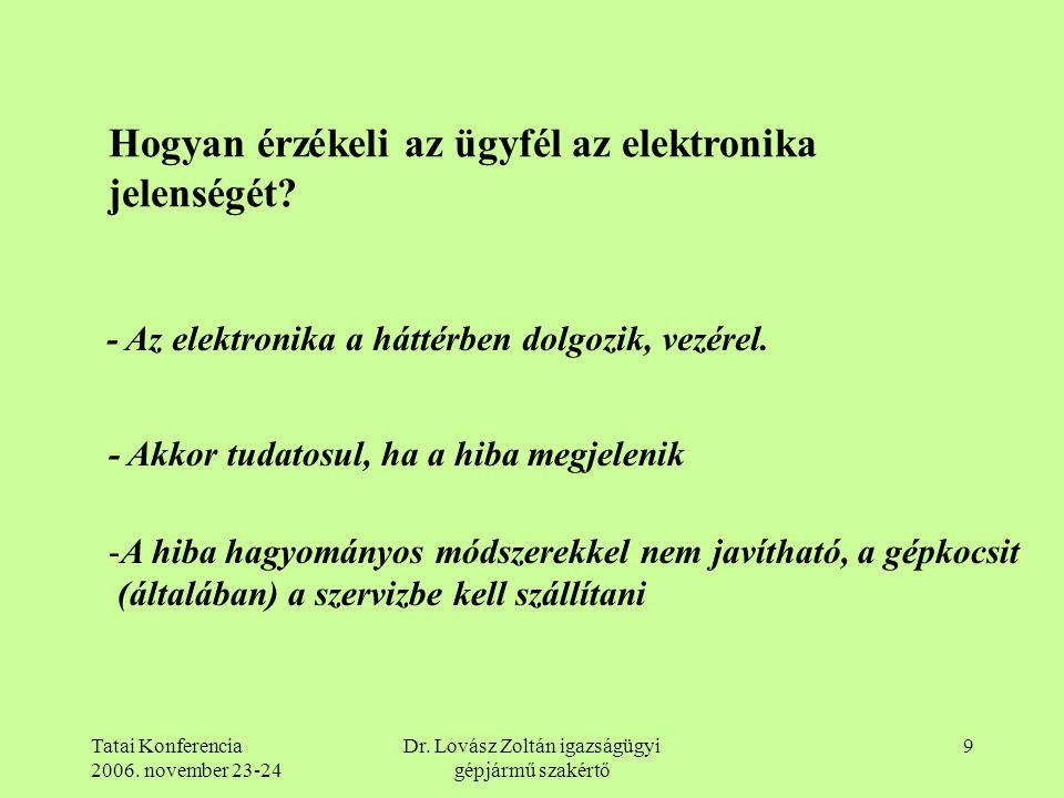 Tatai Konferencia 2006. november 23-24 Dr. Lovász Zoltán igazságügyi gépjármű szakértő 9 Hogyan érzékeli az ügyfél az elektronika jelenségét? - Az ele