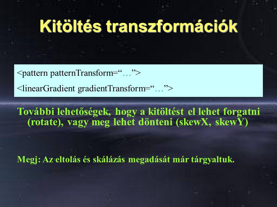 Kitöltés transzformációk További lehetőségek, hogy a kitöltést el lehet forgatni (rotate), vagy meg lehet dönteni (skewX, skewY) Megj: Az eltolás és s