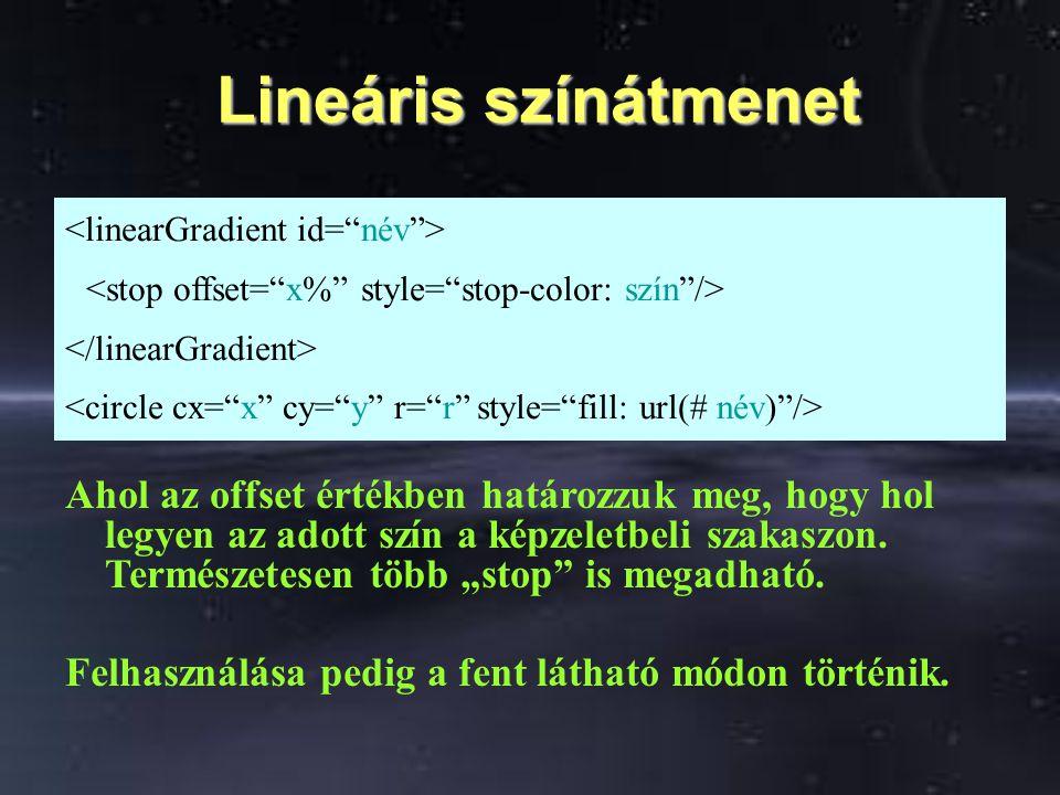 Lineáris színátmenet Lineáris színátmenet Ahol az offset értékben határozzuk meg, hogy hol legyen az adott szín a képzeletbeli szakaszon. Természetese