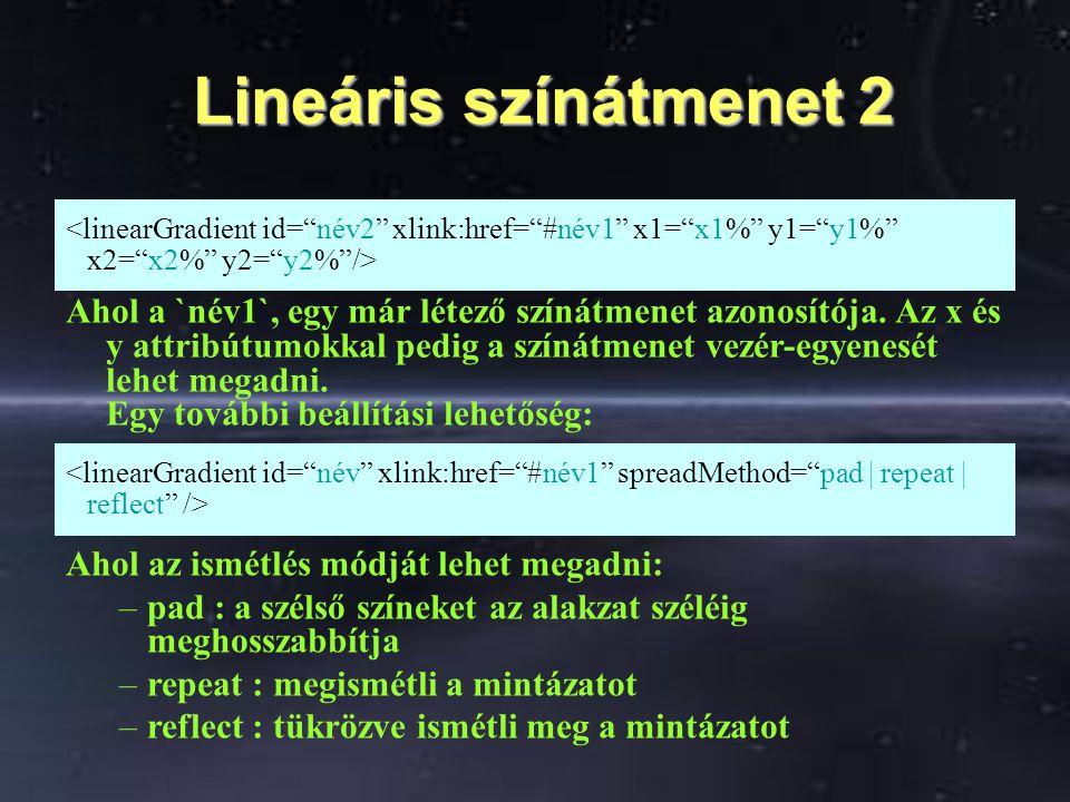 Lineáris színátmenet 2 Lineáris színátmenet 2 Ahol a `név1`, egy már létező színátmenet azonosítója. Az x és y attribútumokkal pedig a színátmenet vez