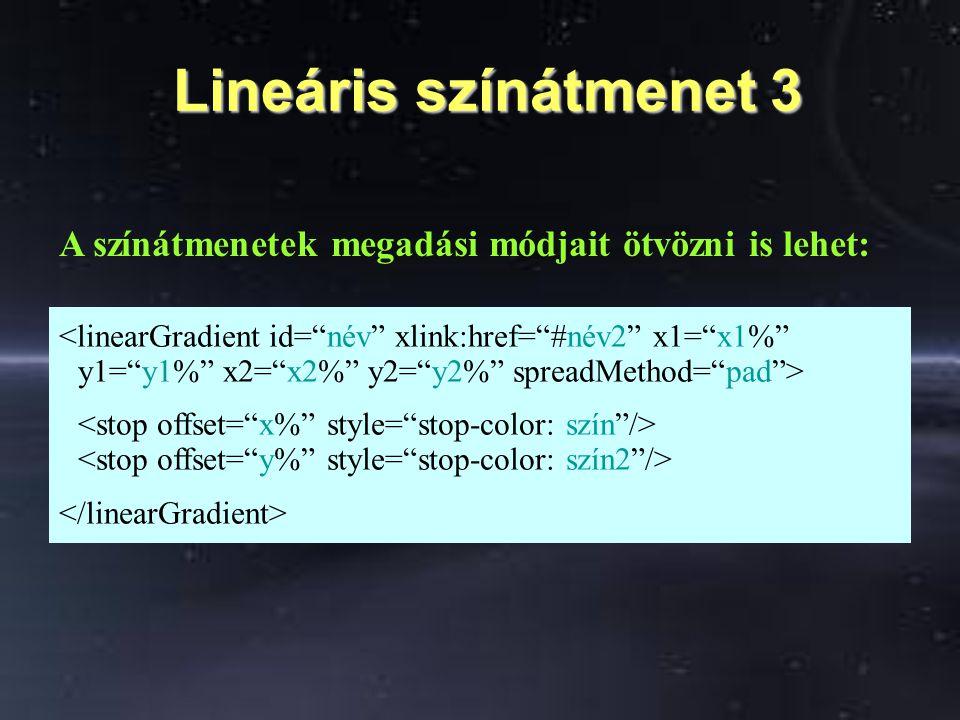 Lineáris színátmenet 3 Lineáris színátmenet 3 A színátmenetek megadási módjait ötvözni is lehet: