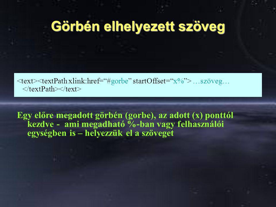 Görbén elhelyezett szöveg …szöveg… Egy előre megadott görbén (gorbe), az adott (x) ponttól kezdve - ami megadható %-ban vagy felhasználói egységben is