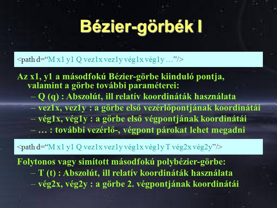 Bézier-görbék I Bézier-görbék I Az x1, y1 a másodfokú Bézier-görbe kiinduló pontja, valamint a görbe további paraméterei: –Q (q) : Abszolút, ill relat