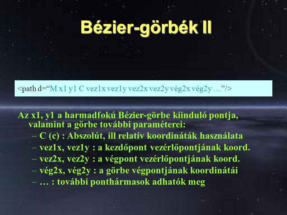 Bézier-görbék II Bézier-görbék II Az x1, y1 a harmadfokú Bézier-görbe kiinduló pontja, valamint a görbe további paraméterei: –C (c) : Abszolút, ill re