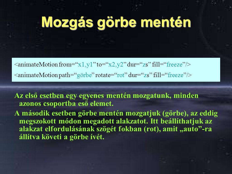 Mozgás görbe mentén Az első esetben egy egyenes mentén mozgatunk, minden azonos csoportba eső elemet.