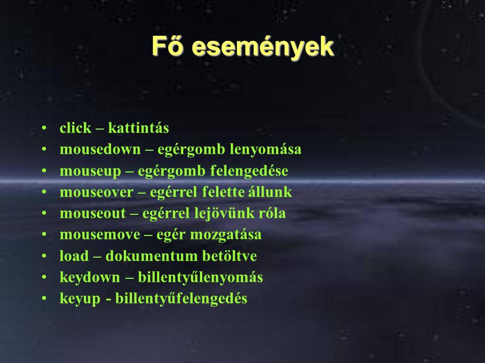 Fő / általános paraméter Ez a paraméter az 'evt', ami a bekövetkezett eseményhez tartozó tulajdonságokat tartalmazza.