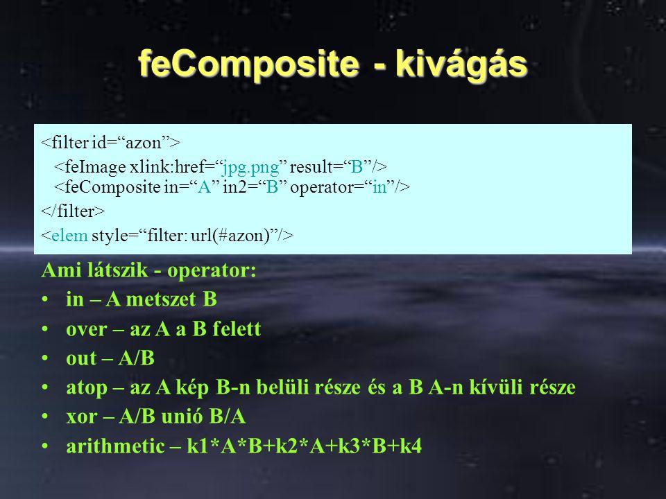feComposite - kivágás Ami látszik - operator: in – A metszet B over – az A a B felett out – A/B atop – az A kép B-n belüli része és a B A-n kívüli rés