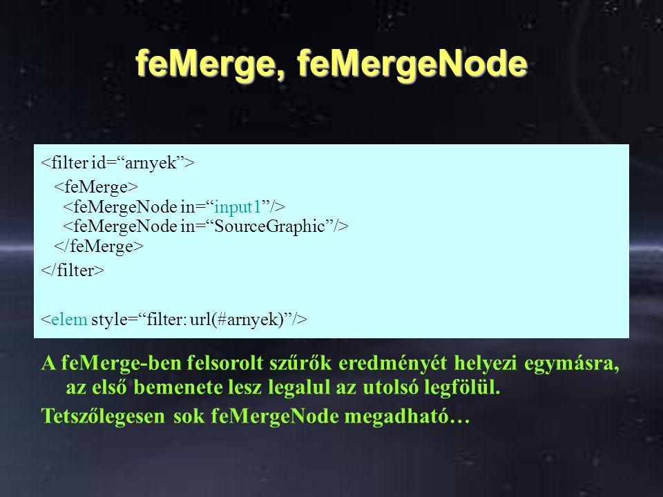 feMerge, feMergeNode A feMerge-ben felsorolt szűrők eredményét helyezi egymásra, az első bemenete lesz legalul az utolsó legfölül. Tetszőlegesen sok f