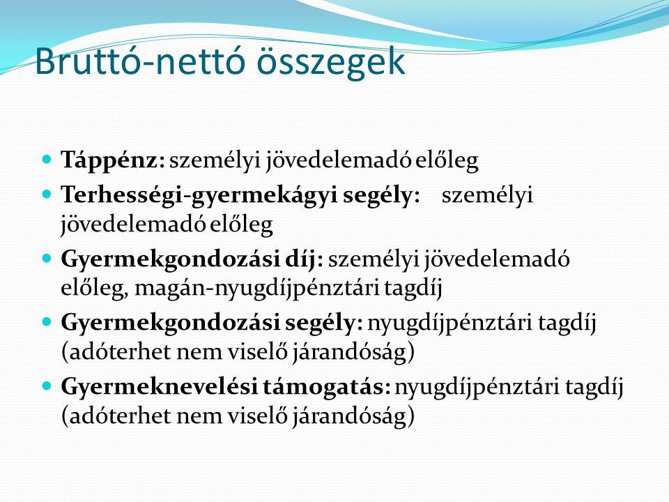 Bruttó-nettó összegek Táppénz: személyi jövedelemadó előleg Terhességi-gyermekágyi segély: személyi jövedelemadó előleg Gyermekgondozási díj: személyi