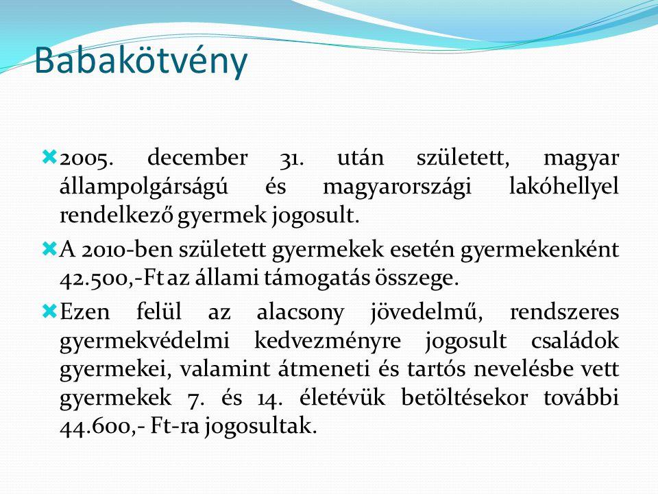 Babakötvény  2005. december 31. után született, magyar állampolgárságú és magyarországi lakóhellyel rendelkező gyermek jogosult.  A 2010-ben születe
