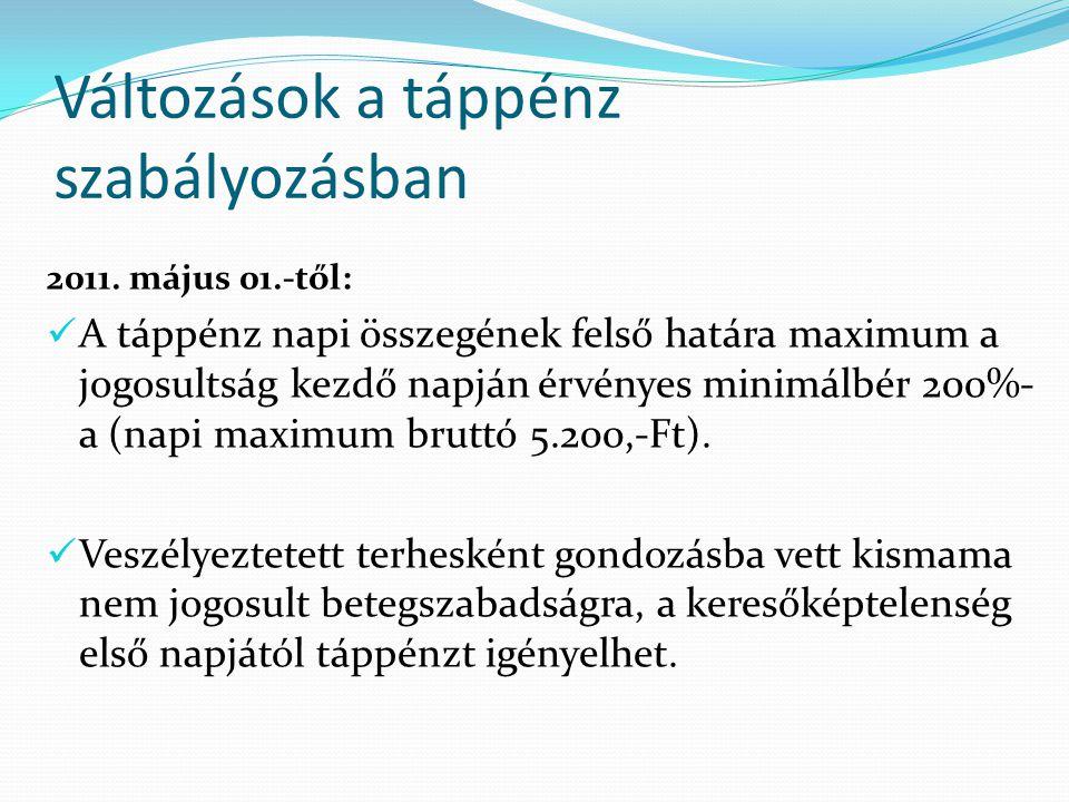 Változások a táppénz szabályozásban 2011. május 01.-től: A táppénz napi összegének felső határa maximum a jogosultság kezdő napján érvényes minimálbér