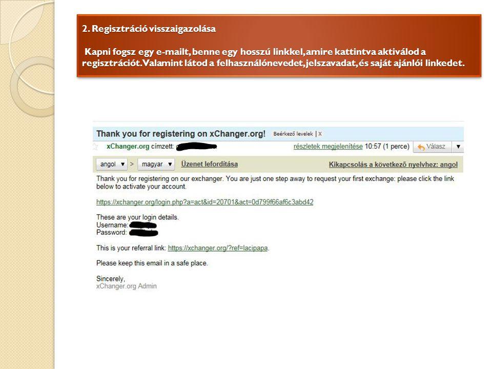 2. Regisztráció visszaigazolása Kapni fogsz egy e-mailt, benne egy hosszú linkkel, amire kattintva aktiválod a regisztrációt. Valamint látod a felhasz