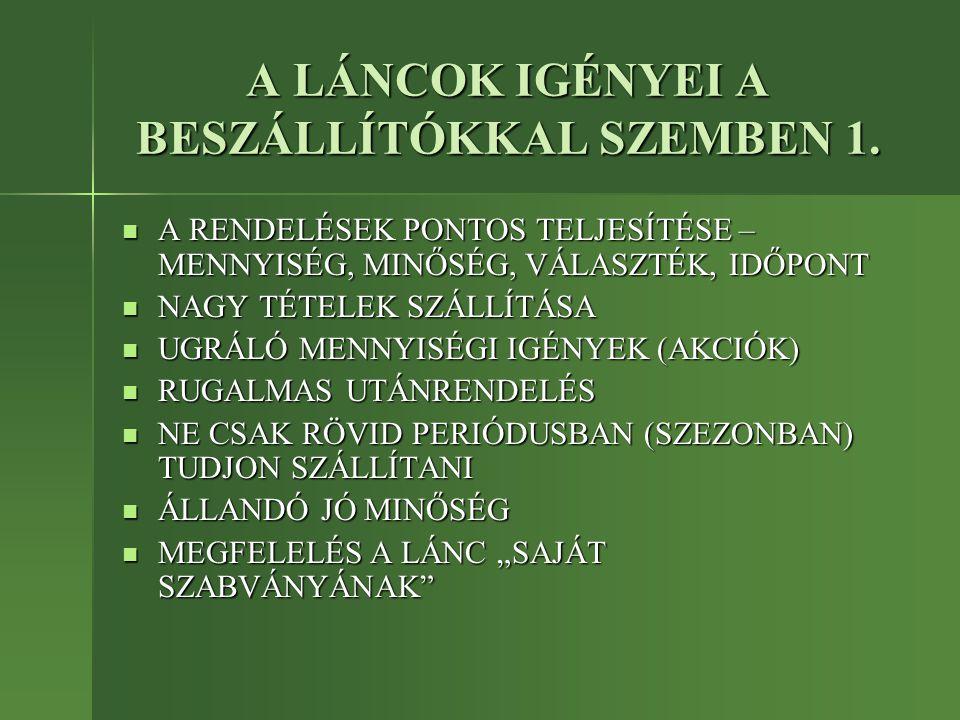 A LÁNCOK IGÉNYEI A BESZÁLLÍTÓKKAL SZEMBEN 1.