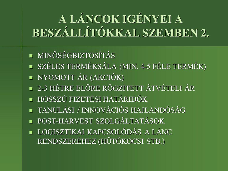 A LÁNCOK IGÉNYEI A BESZÁLLÍTÓKKAL SZEMBEN 2.