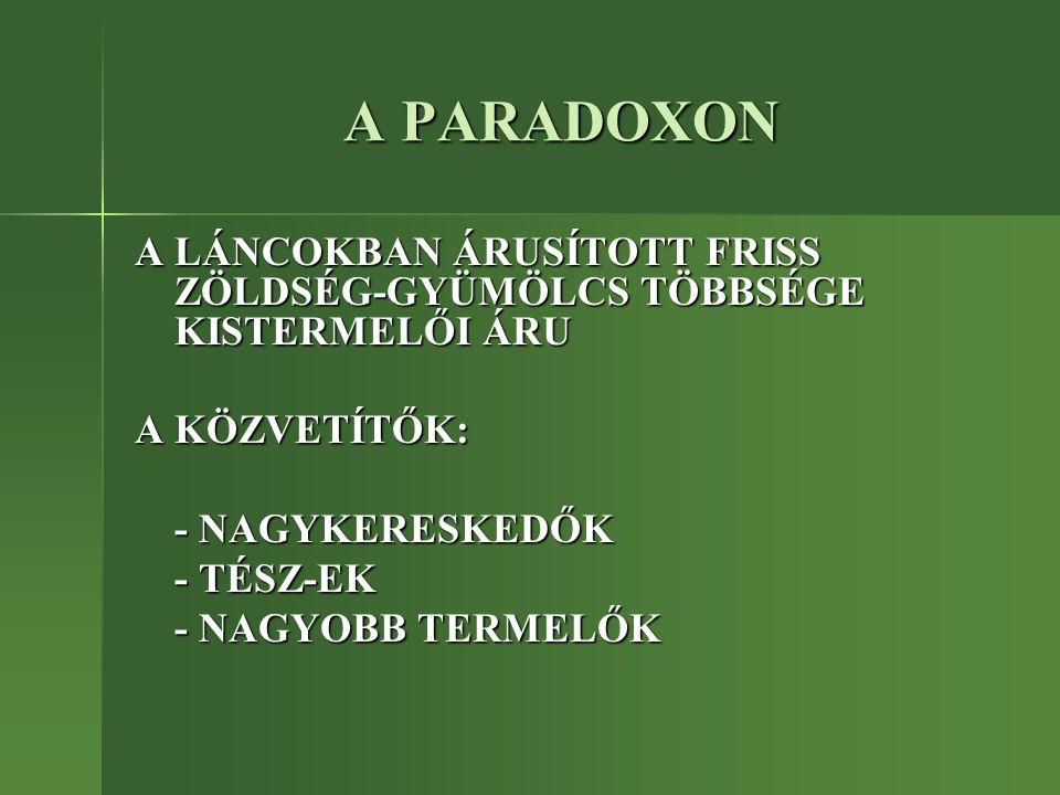 A PARADOXON A LÁNCOKBAN ÁRUSÍTOTT FRISS ZÖLDSÉG-GYÜMÖLCS TÖBBSÉGE KISTERMELŐI ÁRU A KÖZVETÍTŐK: - NAGYKERESKEDŐK - TÉSZ-EK - NAGYOBB TERMELŐK