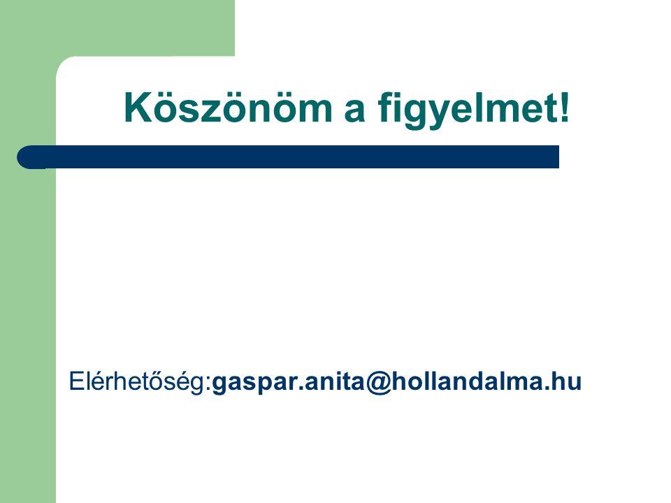 Köszönöm a figyelmet! Elérhetőség:gaspar.anita@hollandalma.hu