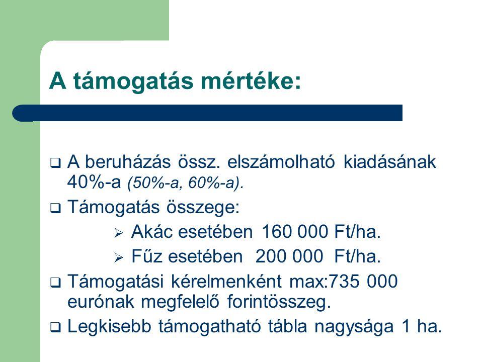 A támogatás mértéke:  A beruházás össz. elszámolható kiadásának 40%-a (50%-a, 60%-a).  Támogatás összege:  Akác esetében 160 000 Ft/ha.  Fűz eseté