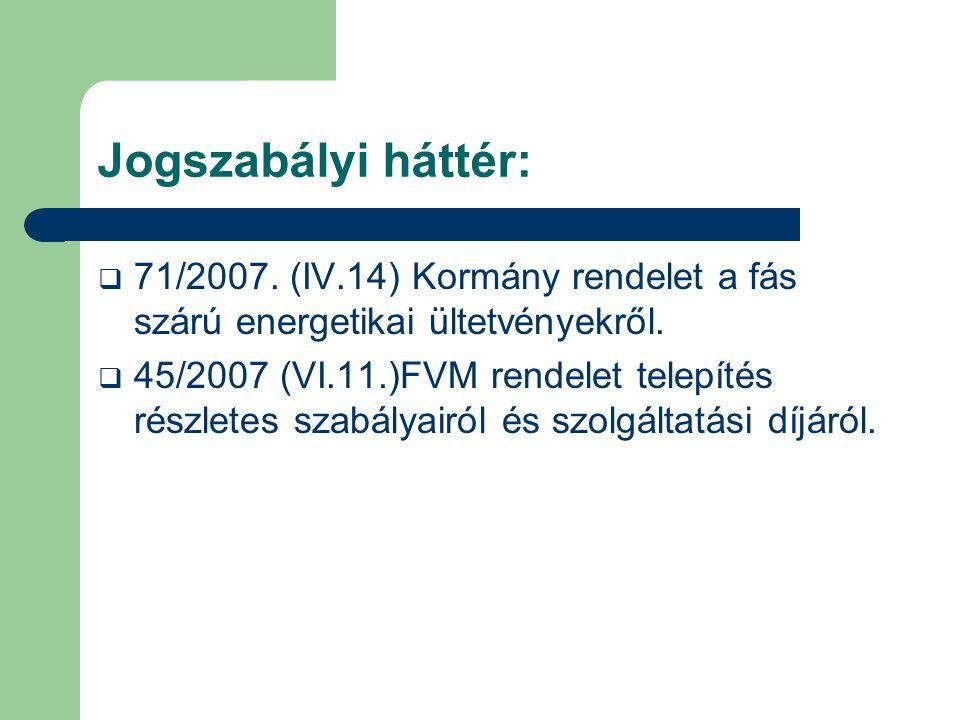 Jogszabályi háttér:  71/2007. (IV.14) Kormány rendelet a fás szárú energetikai ültetvényekről.  45/2007 (VI.11.)FVM rendelet telepítés részletes sza