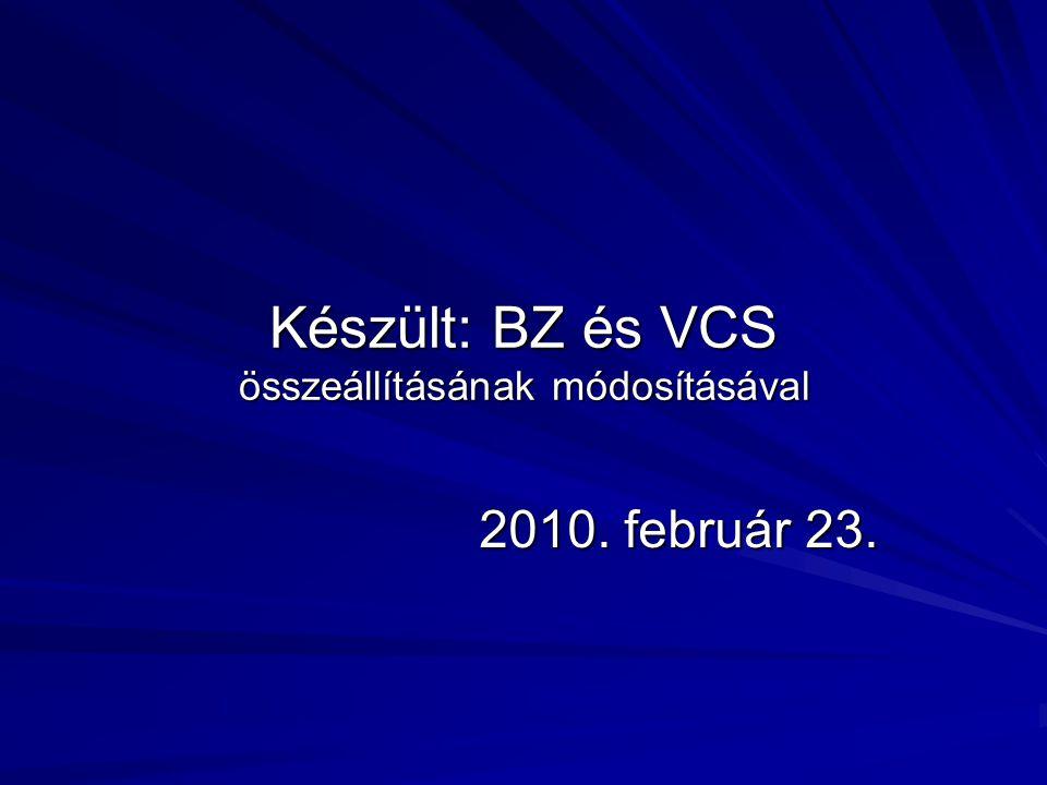 Készült: BZ és VCS összeállításának módosításával 2010. február 23.