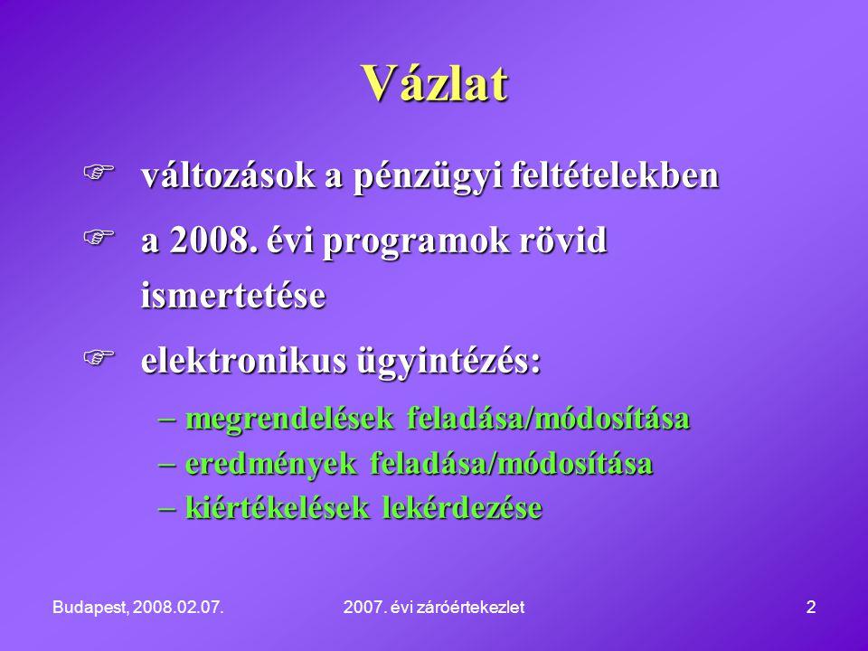 Budapest, 2008.02.07.2007. évi záróértekezlet2  változások a pénzügyi feltételekben  a 2008. évi programok rövid ismertetése  elektronikus ügyintéz