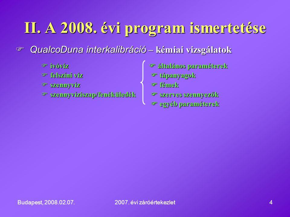 Budapest, 2008.02.07.2007. évi záróértekezlet4  QualcoDuna interkalibráció – kémiai vizsgálatok  ivóvíz  általános paraméterek  felszíni víz  táp