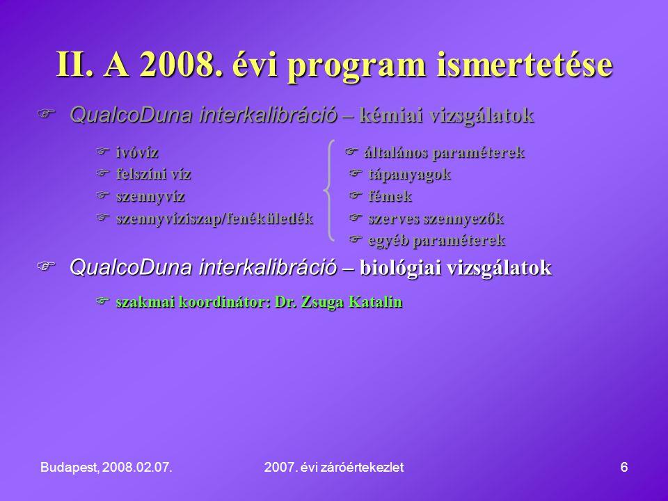 Budapest, 2008.02.07.2007. évi záróértekezlet6  QualcoDuna interkalibráció – kémiai vizsgálatok  ivóvíz  általános paraméterek  felszíni víz  táp