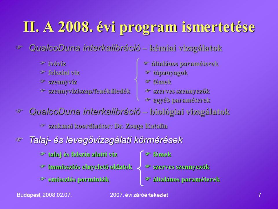 Budapest, 2008.02.07.2007. évi záróértekezlet7  QualcoDuna interkalibráció – kémiai vizsgálatok  ivóvíz  általános paraméterek  felszíni víz  táp