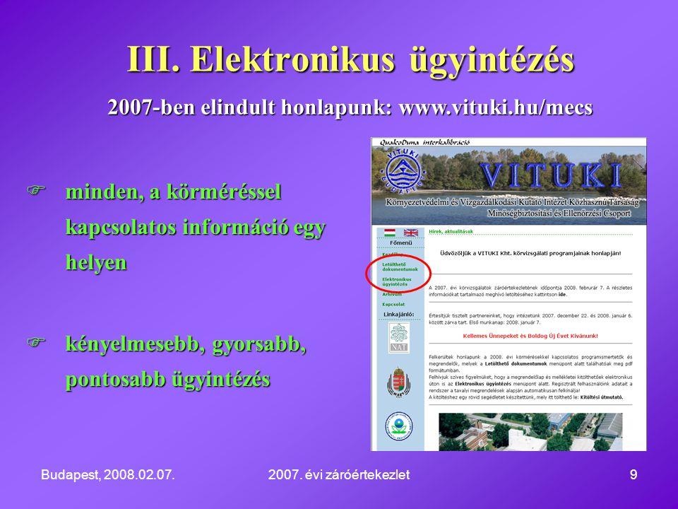 Budapest, 2008.02.07.2007. évi záróértekezlet9  minden, a körméréssel kapcsolatos információ egy helyen  kényelmesebb, gyorsabb, pontosabb ügyintézé