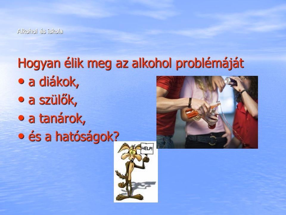 Alkohol és iskola Hogyan élik meg az alkohol problémáját a diákok, a diákok, a szülők, a szülők, a tanárok, a tanárok, és a hatóságok? és a hatóságok?