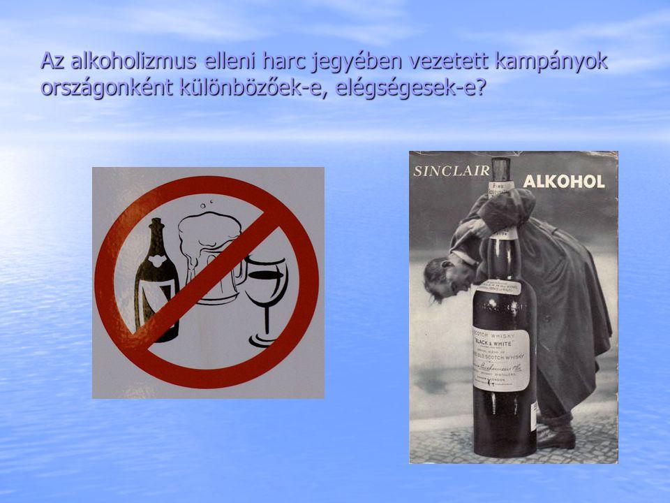 Az alkoholizmus elleni harc jegyében vezetett kampányok országonként különbözőek-e, elégségesek-e?