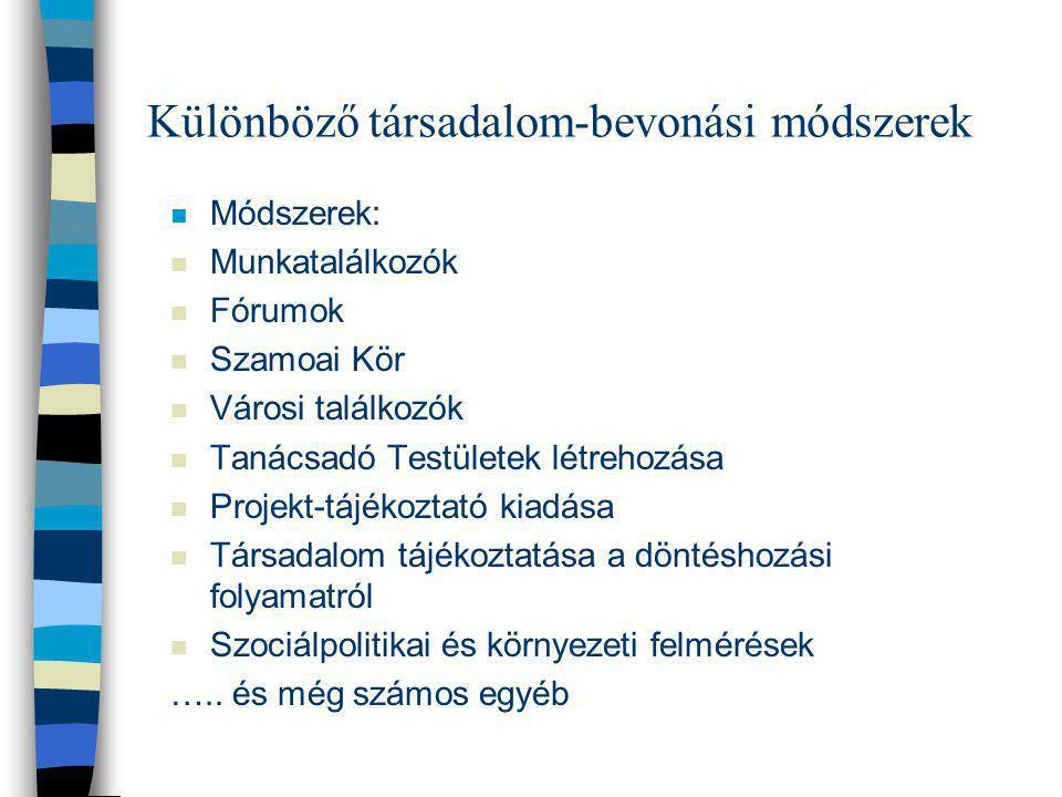 Különböző társadalom-bevonási módszerek n Módszerek: n Munkatalálkozók n Fórumok n Szamoai Kör n Városi találkozók n Tanácsadó Testületek létrehozása