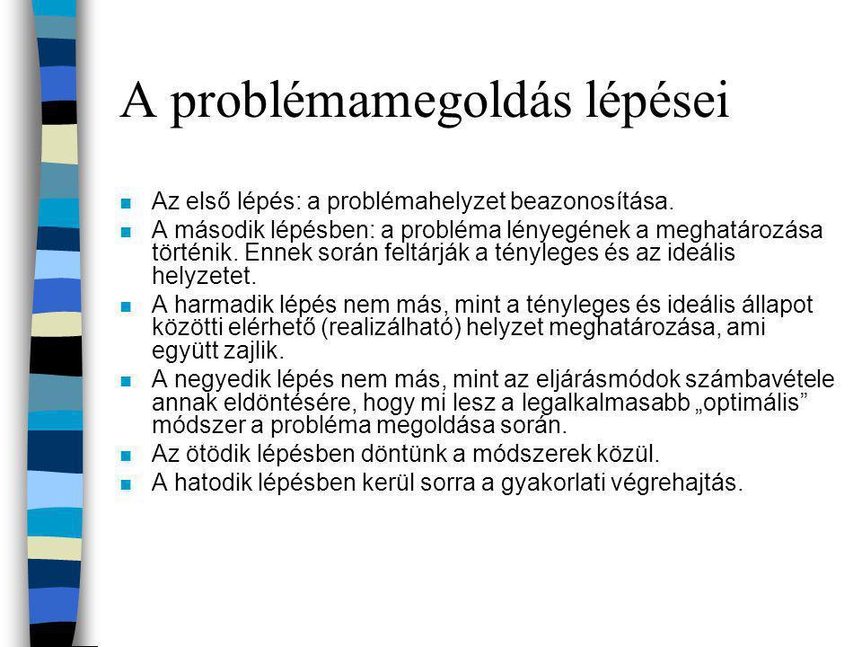 A problémamegoldás lépései n Az első lépés: a problémahelyzet beazonosítása. n A második lépésben: a probléma lényegének a meghatározása történik. Enn
