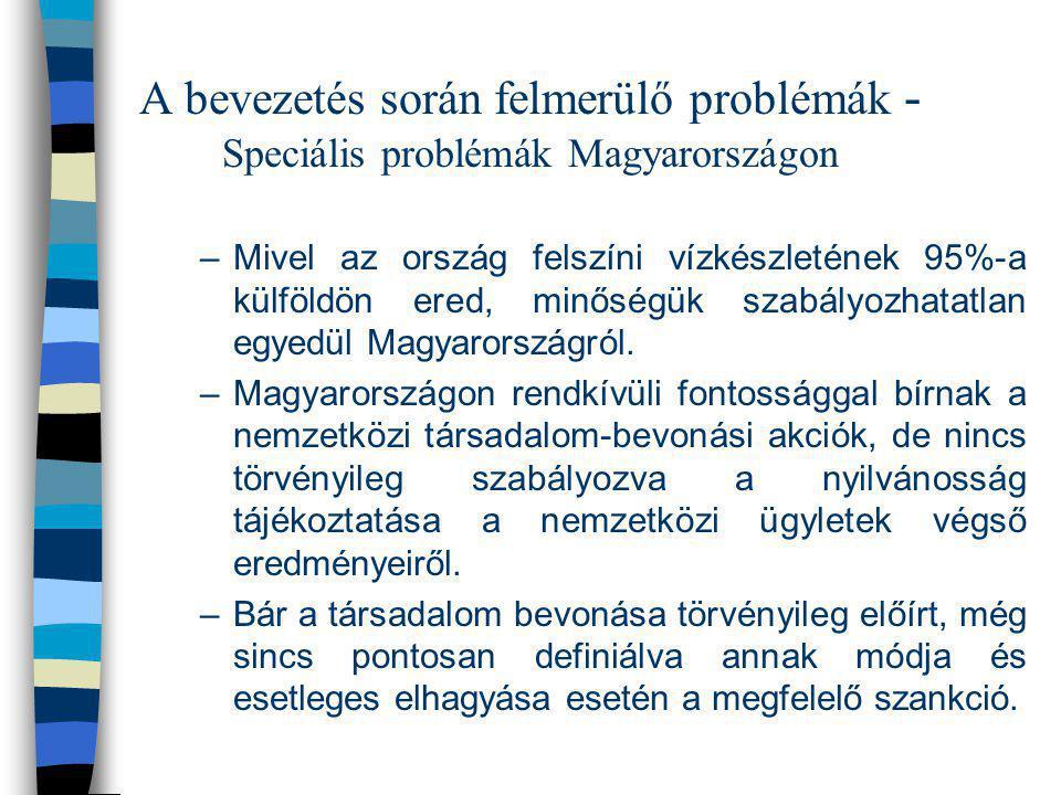 A bevezetés során felmerülő problémák - Speciális problémák Magyarországon –Mivel az ország felszíni vízkészletének 95%-a külföldön ered, minőségük sz